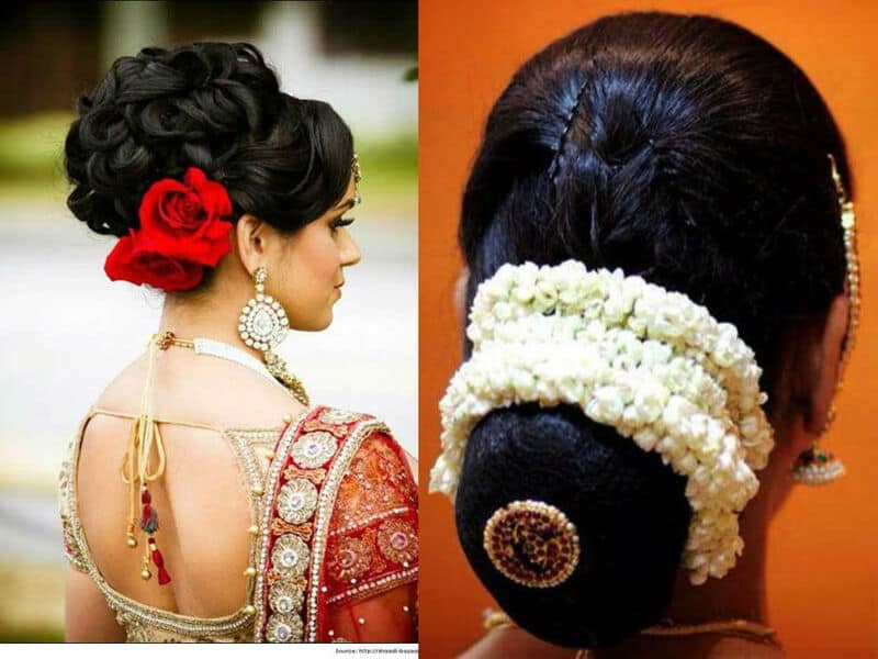 indian bridal bun hairstyles with flowers - indian beauty tips
