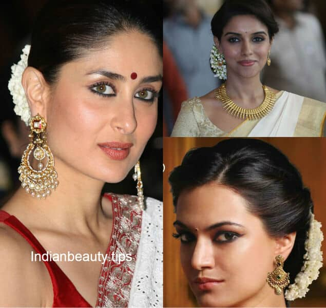 Different hairstyles to try with sarees - Indian_hair_bun_with_flowers Deepika_padukone_hair_bun_with_flowers