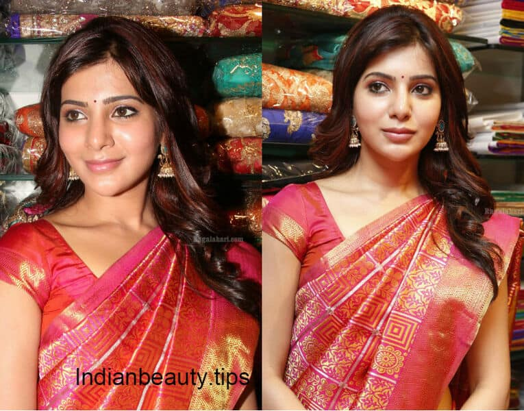 samantharuthprabhu_saree_hairstyles