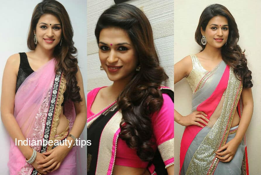 Loose hairstyles for saree