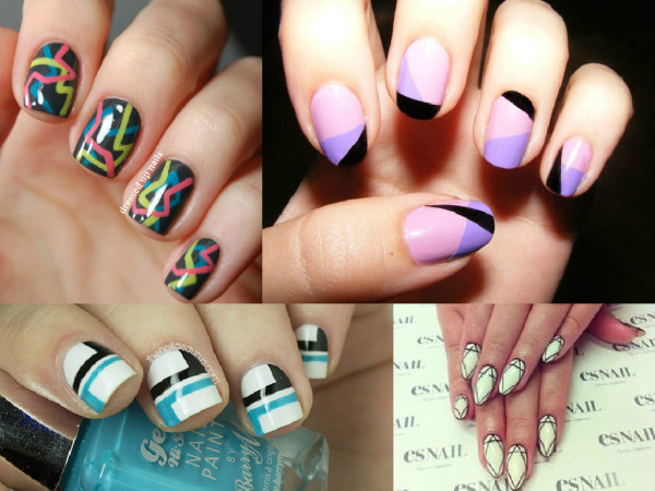 geometric nails art