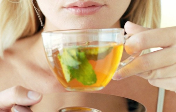 Picture of woman drinking green tea