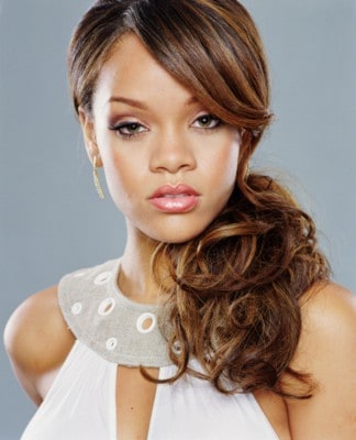 rihanna side swept low ponytail
